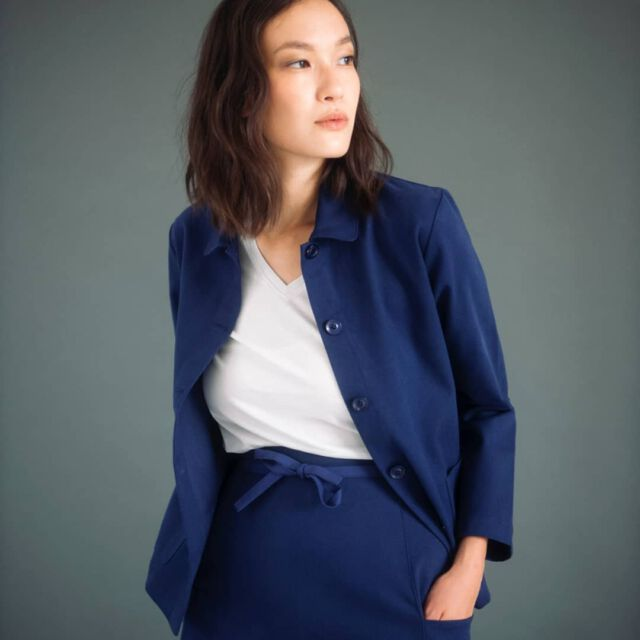 May be that's how love Colchik the most, as a suit 💙 📷 @nikkmartin model @hannah_cha_ shirt @merzbschwanen_womens #colchikjacket #colchikskirt #colchikindigo #aboutcolchik #madeineurope #madetolast #timelessstyle #timeless #instafashion #vintagestyle #casualwithstyle #casualsuit #essentials #minimalism #simplicity #design #archtectural #utility #minimallove #unisex #womanfashion #slowfashion